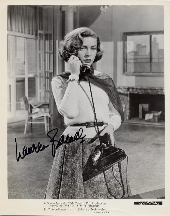 Bacall, Lauren (1924-) autograph 'How to Marry a Millionaire'